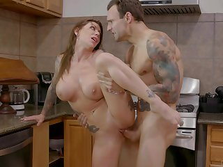 Enticing kitchen XXX action with chum around with annoy hot tattooed mommy