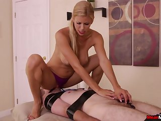 Admirable leafless porn with a median MILF and her male slave