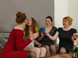 Naughty lesbians have gathered up there the humming room to eat ever other up during a foursome