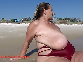 Duo piece swimsuit and the biggest saggy tits ever