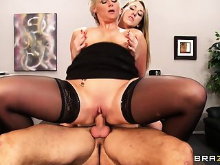 Two naughty girls stay late after lessons and fuck their favorite tutor