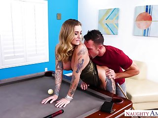 Sassy tattooed milf Kleio Valentien gets fucked on the billiard trustees
