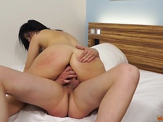 Massive cock for the spanked Asian lady in scenes of amateur porn