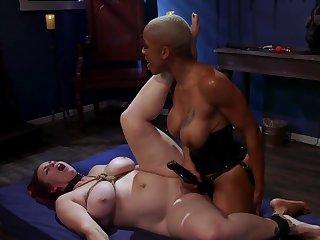 Black mistress is strap-on fucking her scheduled up slavegirl