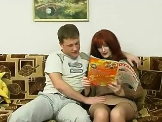 Russian matured mom and a friend of her son! Amateur!