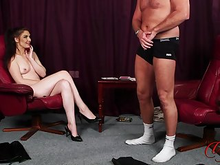 Dude strokes his penis while naughty Roxee Couture takes gone her clothes
