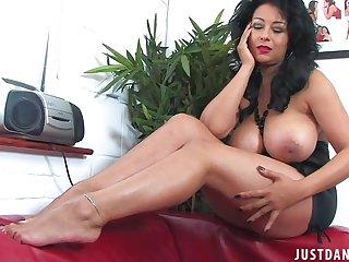 Horny MILF Danica Collins apropos black stockings enjoys teasing