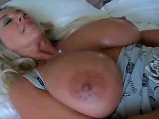 Busty blonde mature mom in the air homemade handjob involving masturbation