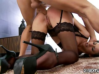 Dressed in morose black unmentionables and tights MILF Martina Gold treats Mugur with BJ