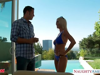 Friend's mom in provocative bikini Emma Starr gets into pants ans sucks get pleasure from a cum thirsty