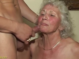 Beamy natural breast 77 seniority old granny gets avant-garde rough Beamy cock fucked by her toyboy