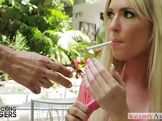 Blonde sexpot in the matter of mouth watering ass Victoria White gives head at the doggy