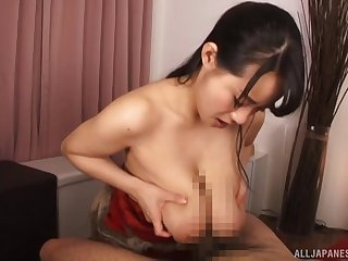 Japanese slut uses boobs in chum around with annoy remedy of blowing