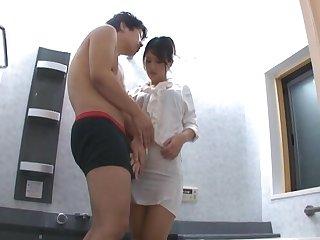 Horny Japanese babe Erika Masuwaka gives head to a unlucky dude