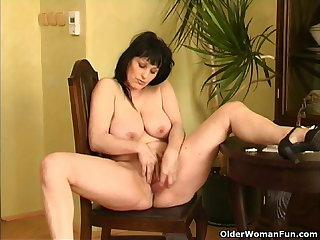 Curvy old housewife with hanging beamy tits and large last analysis