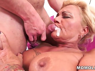 Hairy granny pussy vs young cock
