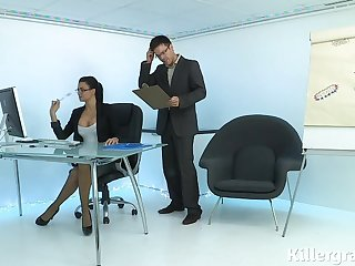 Hot sexy Milf plays the office floosie addicted close to load of shit