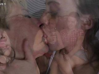 Several old and young lesbians group sex