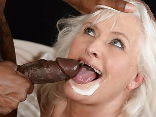 Elderly Granny in excess of big black cock
