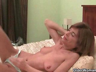 Very skinny granny strips off added to masturbates