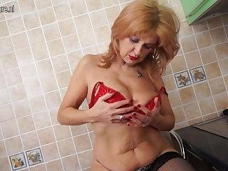 Super hot grandma shows hot body added to masturbates