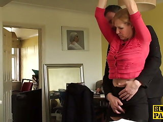 Mature uk sub gets cuffed with the addition of dominated over