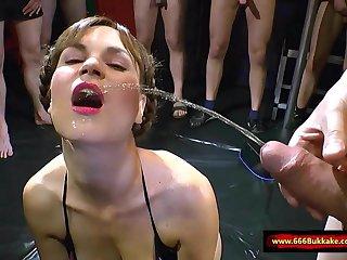 Humongous Pissing gangbang - 666Bukkake