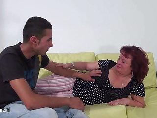 Mature battle-axe mom fucking and sucking a hard cock