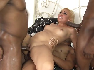 Blonde whore anal fucked by two black males with monster dicks