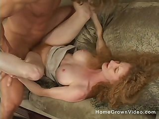 Clumsy mature redhead floozy spreads her legs and rides a learn of