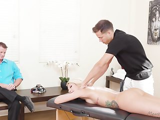 Stunning blond milf Carmen Caliente is fucked away from masseur in play of husband