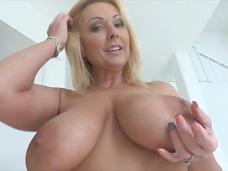 Blonde MILF with bi chest masturbating with toys