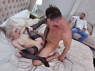 Pauper fucks married blonde with hubby bordering watch