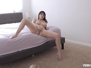 Intriguing how the slutty wife gets from masturbating to fucking like a god