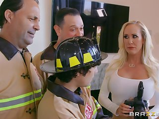 Photographer Brandi Love fucked from behind by a firefighter