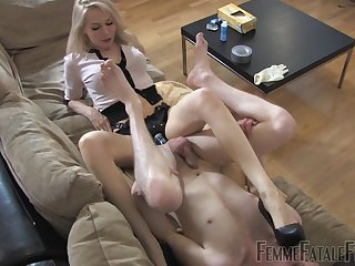 Dominant blonde arse fucks slave boy nearby huge strap-on toy