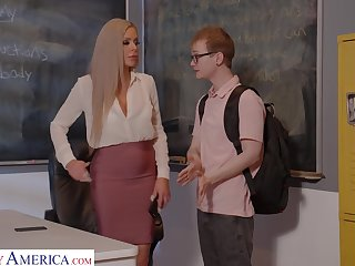 Busty German teacher Nina Elle gives a wonderful blowjob and bangs partisan right on the committee