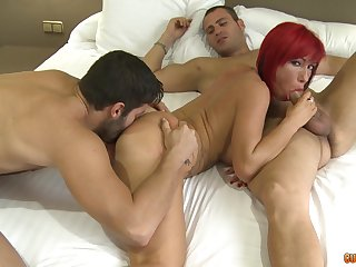 Become man shared by four men in the air staggering hardcore cam play