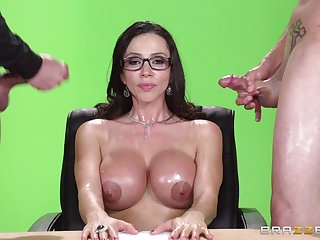 Grown-up pornstar fucked by one dicks and gets double cum on tits