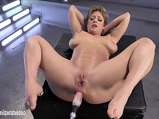 dildo contraption satisfies her wet MILF pussy