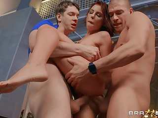 Intense porn with two men for the hot MILF