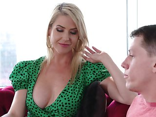 Fabulous busty blonde MILF Vestment Mercer just loves some horny doggy have sex