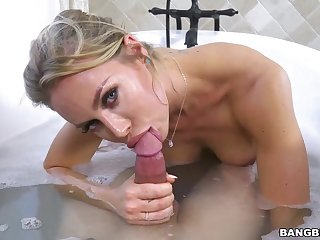 Broad in burnish apply beam titted blonde woman, Nicole and her new lover are having it away in burnish apply bathroom, all about day long
