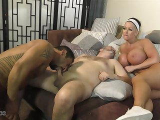 Busty Alura Jenson provides the pussy during hot bisexual MMF threesome
