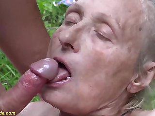 Avant-garde ugly 86 years old mom focus on banged