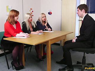 Guy involving suit pleases these horny MILFs via job interview