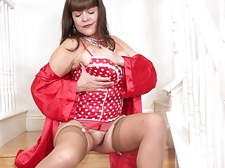 Dressed everywhere red-hot lingerie and beige nylon stockings busty Rebecca Reverence goes solo