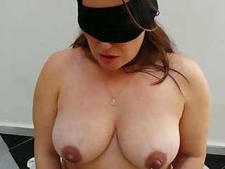 Submissive busty chubby wife to black stockings deserves some punishment