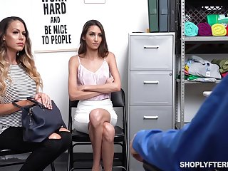 Supermarket security fucks sexy of age mommy and her adult stepdaughter