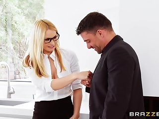 Never ending passion everywhere a slutty threesome for get under one's hot office MILF